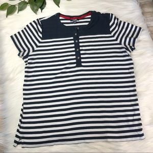 Chaps Navy Blue and White Striped Top Sz 2X